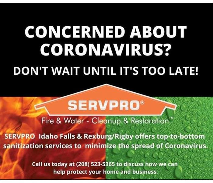 Flyer regarding the coronavirus and how SERVPRO can help