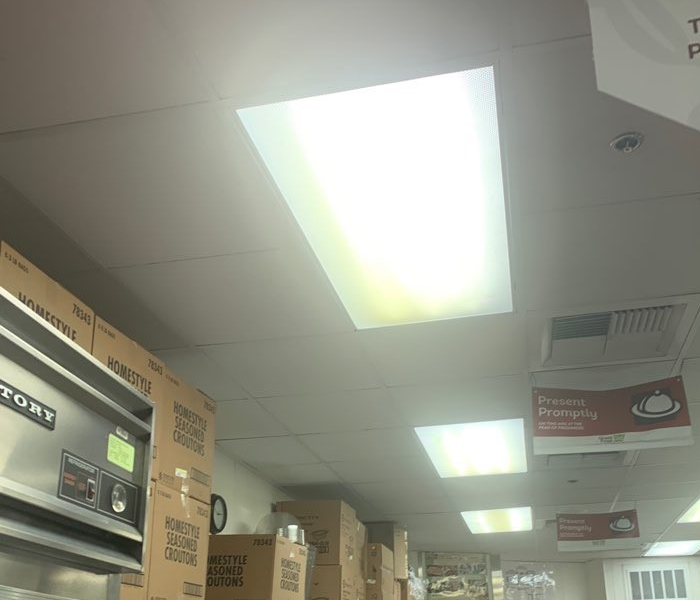ceiling in a commercial kitchen