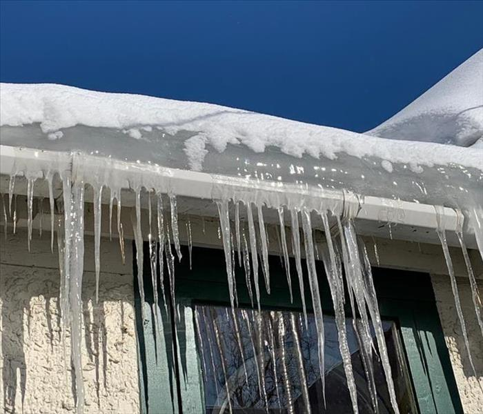 Ice dam on a roof